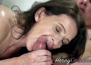 All-natural MILF blows his young boner