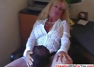 Blonde MILF is getting fucked from behind