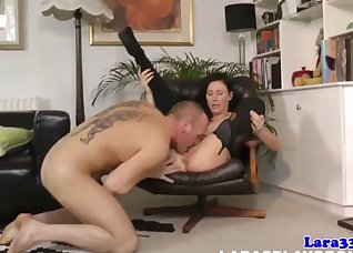 Brunette in stockings wants his young cock