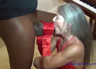 Black man gives a nice lesson for a hot mom