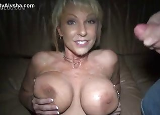 Sensual blonde received a messy facial