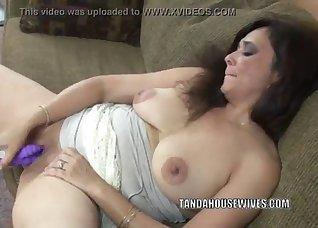 Sexy hottie fucks with a massive dildo
