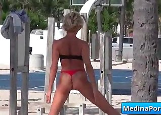 Glamorous blonde shows off her skills