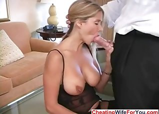 Excited rich babe cheats on her hubby