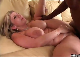 White lady fucked by a big black cock