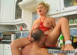 Busty blonde anally fucked by a big dong