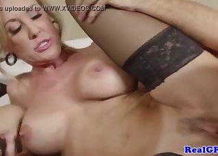 Glamorous blonde nailed by a huge boner