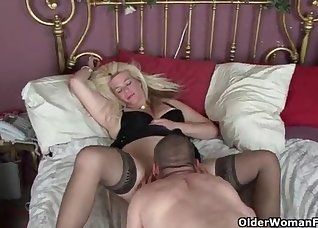 Big-bottomed blonde impaled from behind