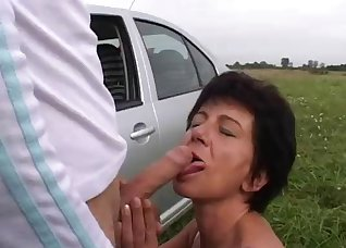Busty brunette fucked by a young surfer