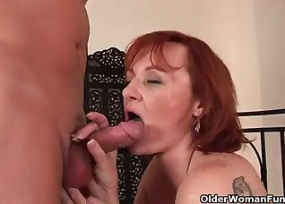 Redhead with big tits likes his hard dick