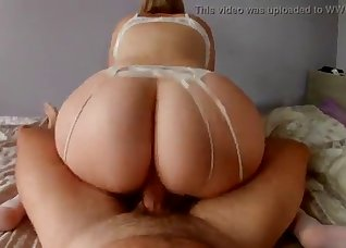 Awesome brunette fucked by a big wiener