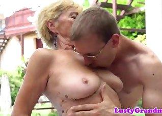 Big-boobed GILF seduced and fucked on cam